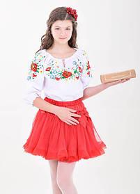 Яркая детская подростковая вышиванка для девочки