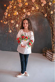 Блуза вишиванка для дівчинки з довгим рукавом