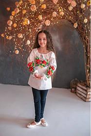 Блуза вышиванка для девочки с длинным рукавом
