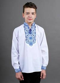 Вишиванка підліток для хлопчика біла з синім