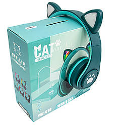 Безпровідні навушники з мікрофоном і котячими вушками CAT EAR YW-018 безпровідна гарнітура (Зелений)