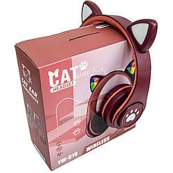 Гарнітура з мікрофоном і котячими вушками CAT EAR YW-018 безпровідні навушники з підсвіткою (Бордовий)