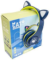 Безпровідні навушники з вушками CAT EAR YW-018 безпровідна гарнітура з підсвіткою (Синій)