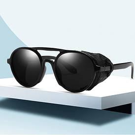 Очки в стиле стимпанк солнцезащитные с мягкими шорами UV400 (арт. KD97044/1) черный