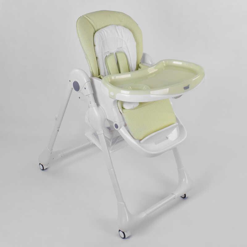 """Стільчик для годування """"Жовтий"""" Toti W-56077 м'який вкладиш, 4 колеса, знімний столик"""