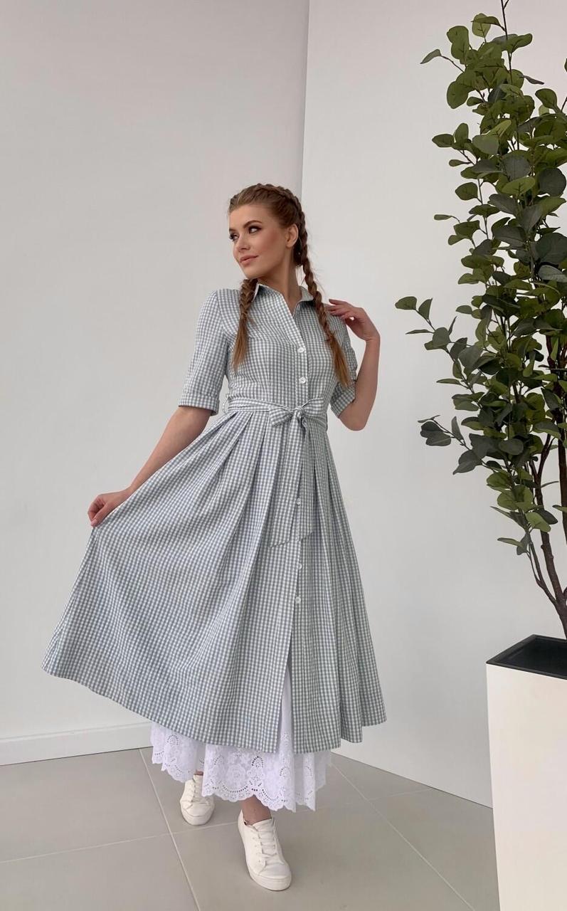 Платье женское летнее светло зеленое с платком Малага Style-Nika MKSN2149/5
