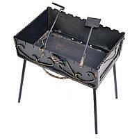 Мангал-чемодан Пикничок 3 мм на 10 шампуров 50х40х18 см с ковкой
