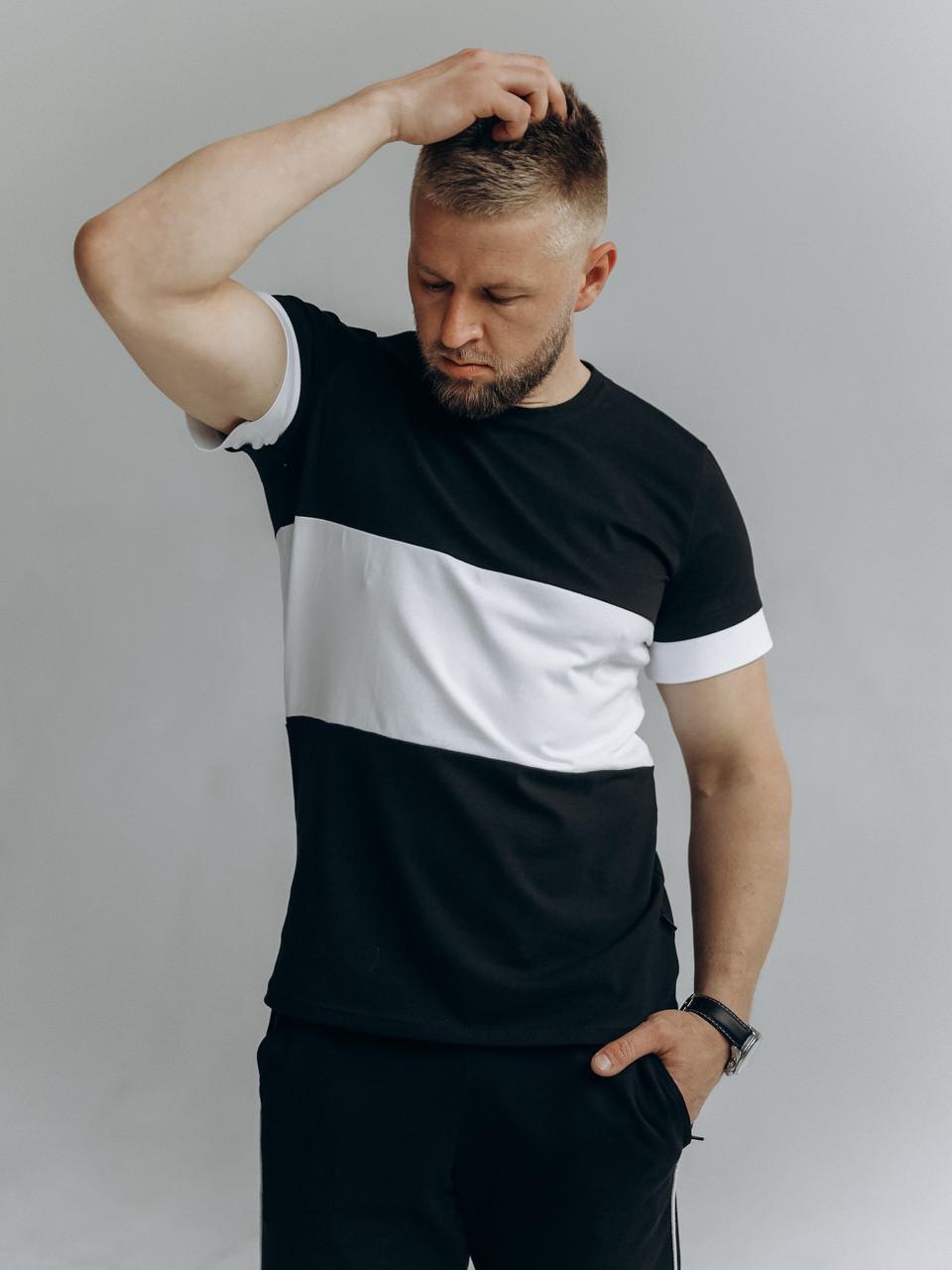 Чоловіча футболка двоколірна з 100% бавовни / Якісна стильна однотонна чоловіча футболка з принтом