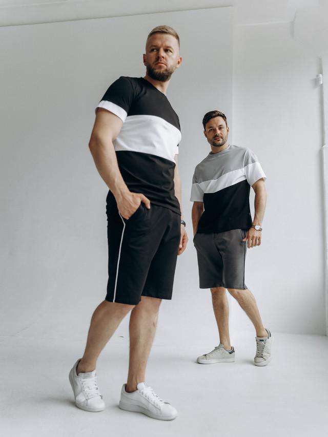 Чоловіча футболка з накатом LIKING з 100% бавовни/Якісна стильна однотонна чоловіча футболка з принтом, фото 1