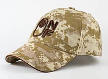 Детская коттоновая кепка камуфляж пиксель с коричневой вышивкой