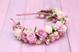 Обруч для волос / ободок на голову / украшение для волос с цветами кремово-розовый обруч