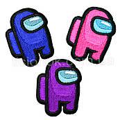 Термо-нашивки Амонг Ас (3 шт.), клеятся утюгом, высота 5 см, синий, розовый, фиолетовый