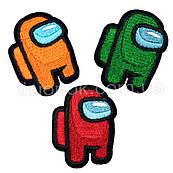 Термо-нашивки Амонг Ас (3 шт.), клеятся утюгом, высота 5 см, оранжевый, зеленый, красный