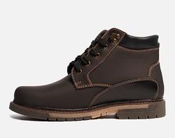 Зимние мужские ботинки на овчине коричневые кожаные