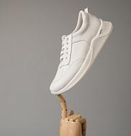 Кожаные мужские белые кроссовки на шнуровке