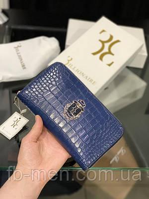 Бумажник Billionaire синий кожаный