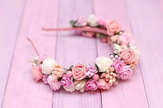 Обруч для волос / ободок на голову / украшение для волос с цветами в пастельных тонах