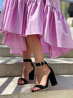 Женские босоножки из натуральной замши на каблуке. Размер 36-40, фото 1