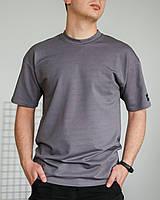 Футболка чоловіча базова сіра без принта. Чоловіча базова футболка сірого кольору без принтів., фото 1