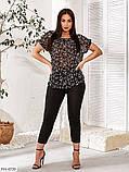Женский брючный костюм из легкой ткани с блузой и брюками  размер:   48-50, 52-54, 56-58, 60-62, фото 6