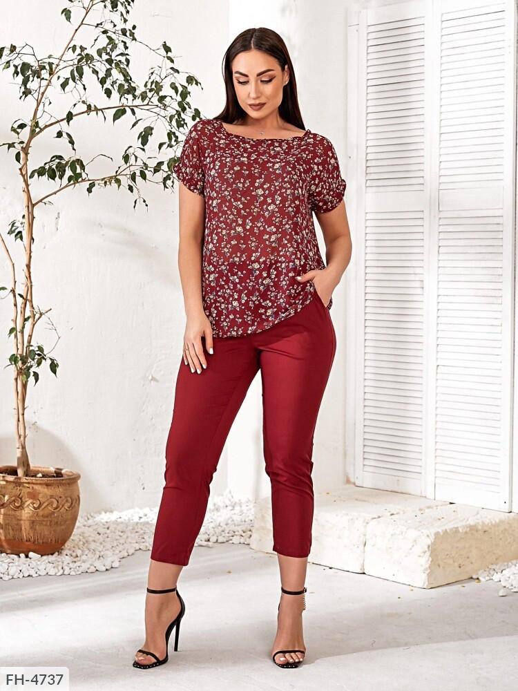 Женский брючный костюм из легкой ткани с блузой и брюками  размер:   48-50, 52-54, 56-58, 60-62