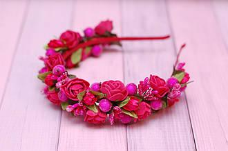 Обруч для волос / ободок на голову / украшение для волос малиновый обруч с цветами