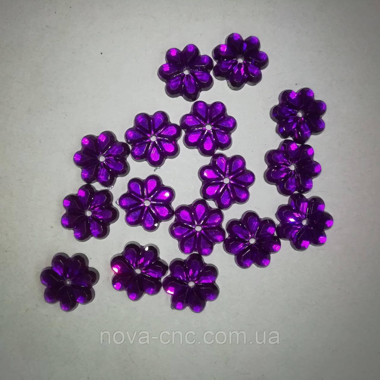 """Акриловые стразы """"Цветок"""" фиолетовый 10 мм 100 шт"""