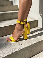 Женские кожаные босоножки желтого цвета на каблуке. Размер 36-40, фото 1