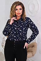 Жіноча стильна блузка з довгим рукавом в квіточку