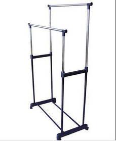 Подвійна телескопічна вішалка стійка для одягу підлогова Double Pole Clother Hose (30 кг)