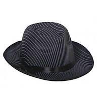 Карнавальная мужская шляпа  Мафия черная в полоску гангстерская