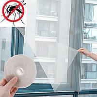 Москитная сетка на окна Белая 1.5х1.3 м, антимоскитная сетка на липучке   антимоскітна сітка на вікно MKRC