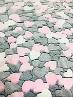 Тканина для пледів Серця | Фліс | 220см