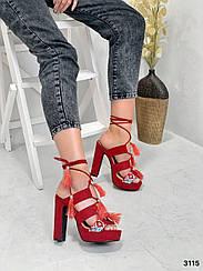 Босоножки копия DG красные вышивка на завязках 38, 39, 40 размеры