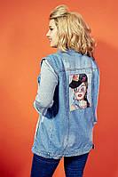 Стильная модная женская джинсовая жилетка Ткань: Джинс стрейч Размеры: 48,50,52,54,