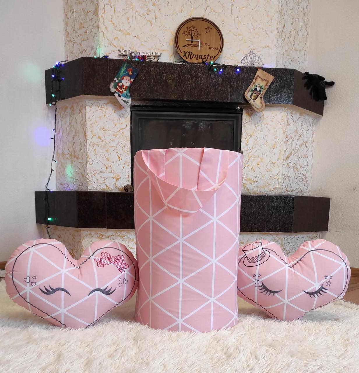 """Велика корзина для іграшок """"Рожева ніжність"""", висота 60 см, діаметр 35 см"""