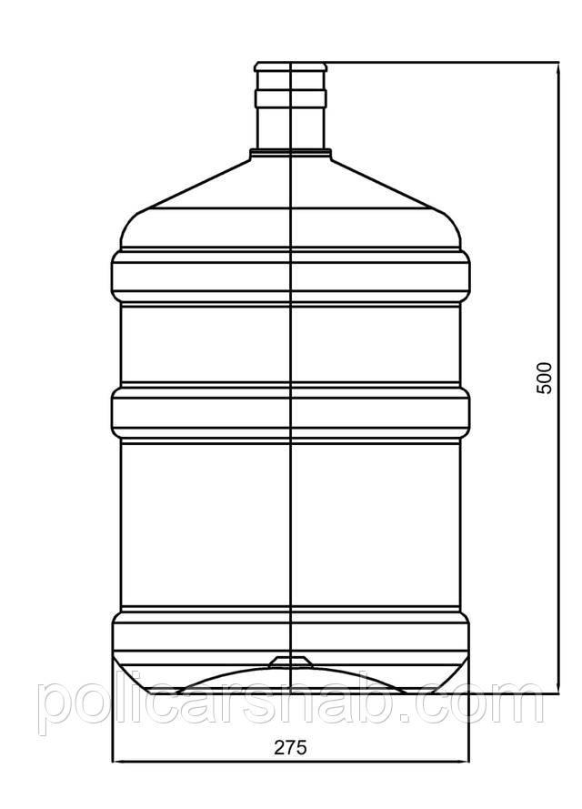 Бутыль для воды 18,9 литров, поликарбонатный без ручки, размеры