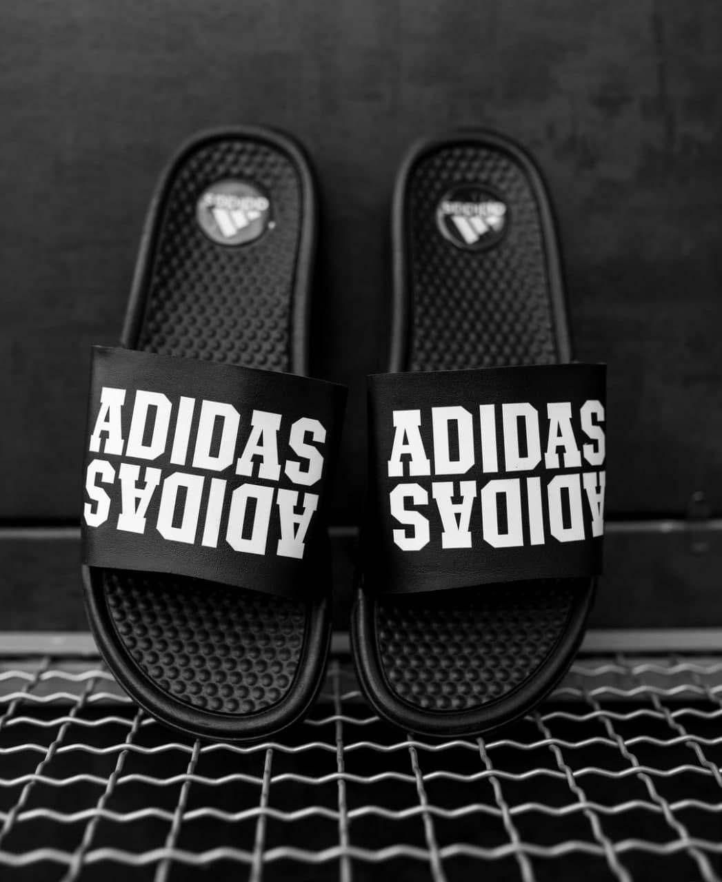 Мужские шлепки Adidas черные рефлектив, Реплика