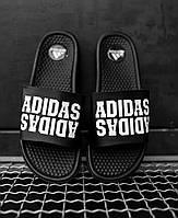 Мужские шлепки Adidas черные рефлектив, Реплика, фото 1