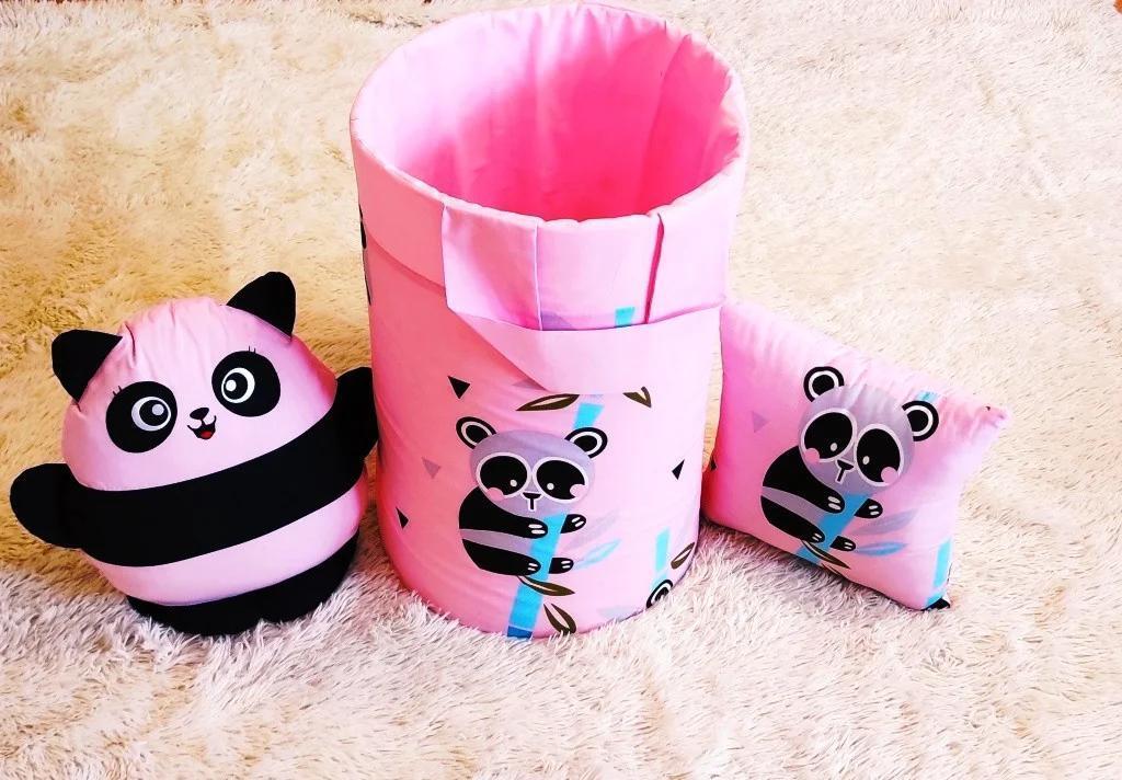 """Большая корзина для игрушек """"Розовая панда"""", высота 60 см, диаметр 35 см"""