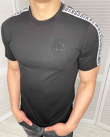Футболка чоловіча стильна Bikkembergs Чорна з логотипом Приталені молодіжна модель, фото 2