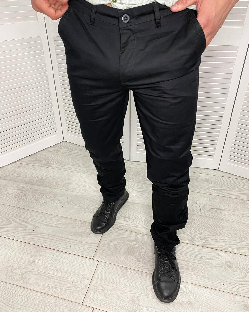 Штани класичні чоловічі Stefano Ricci Чорні, завужені штани для чоловіків