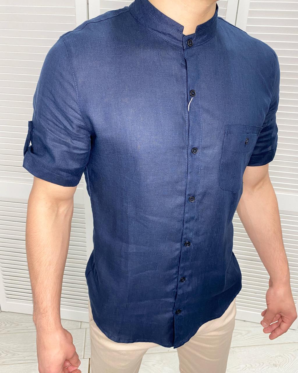 Рубашка мужская с коротким рукавом на лето Ferre Темно-синий 50