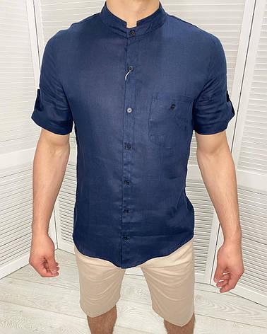 Рубашка мужская с коротким рукавом на лето Ferre Темно-синий 50, фото 2