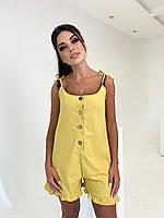 Летний льняной женский комбинезон с шортами батал желтый