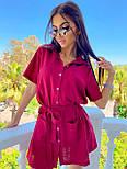 Льняное летнее платье рубашка короткое с накладными карманами и коротким рукавом (р. 42-44) 8032574, фото 3