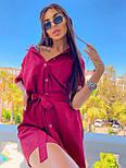 Льняное летнее платье рубашка короткое с накладными карманами и коротким рукавом (р. 42-44) 8032574, фото 6