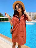 Льняное летнее платье рубашка короткое с накладными карманами и коротким рукавом (р. 42-44) 8032574, фото 7