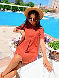 Льняное летнее платье рубашка короткое с накладными карманами и коротким рукавом (р. 42-44) 8032574, фото 8