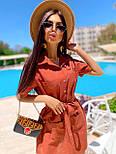 Льняное летнее платье рубашка короткое с накладными карманами и коротким рукавом (р. 42-44) 8032574, фото 5